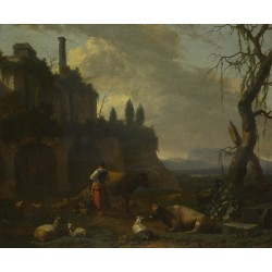Abraham Begeijn - Peasants with Cattle by a Ruin