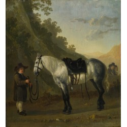 Abraham van Calraet - A Boy holding a Grey Horse