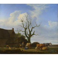 Adriaen van de Velde - A Farm with a Dead Tree